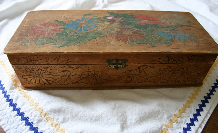 "At the same vendor where I purchased the tray, I bought this floral etched and painted box. If I remember correctly, this is termed ""hobo art."""