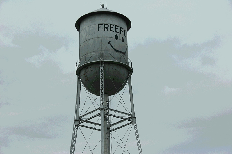 I photographed this aged water tower, which looks a lot like the 1917 one in Gaylord, several years ago. It stands in Freeport, Minnesota, along Interstate 94.