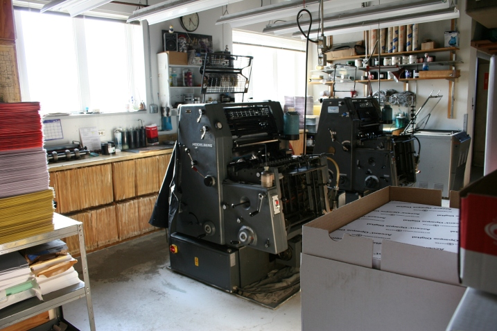 The 1960s Heidelberg offset presses, still used in the second floor print shop.