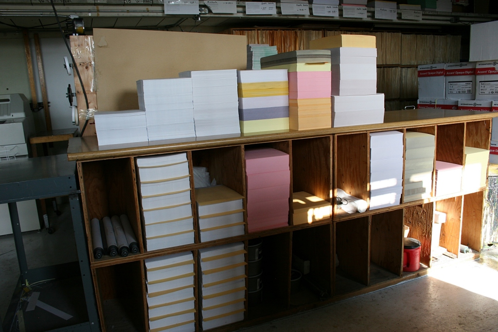 Paper packed near the presses.