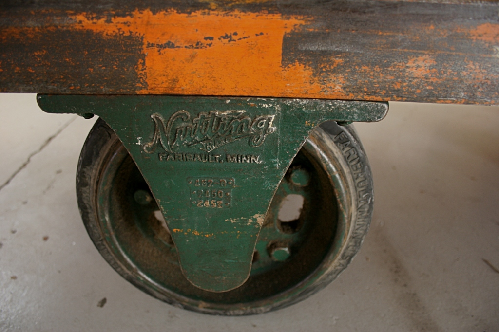 My husband noticed the wheels on a cart, made at the former Nutting Company in our community of Faribault.