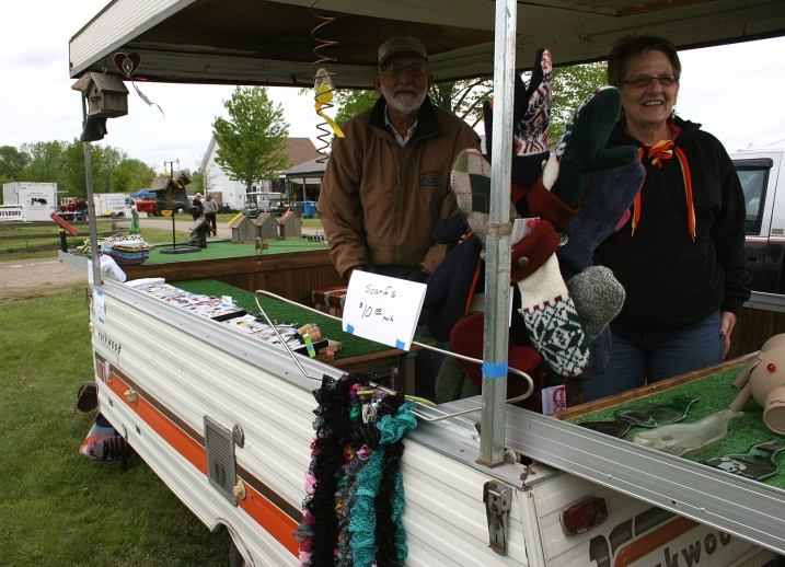 Linda Stadler arrived with her mittens to sell in Gerald Skluzacek's vendor trailer.