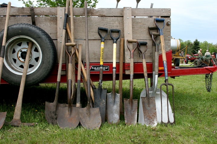 Shovels lined up for the live auction on Saturday.