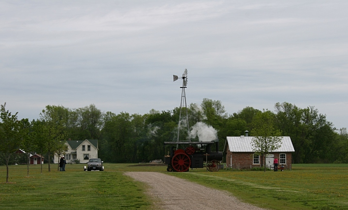 Even the old steam engine tractor was fired up for the day.
