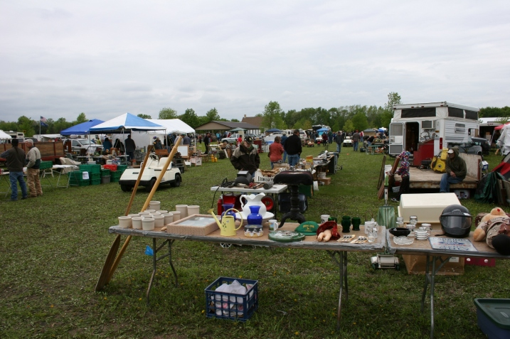 An overview of the Rice County Steam & Gas Engine Flea Market Saturday morning near Dundas.