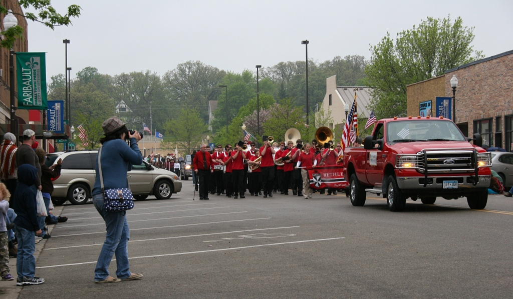 Bands from Bethlehem Academy, shown here, and Faribault High School performed.