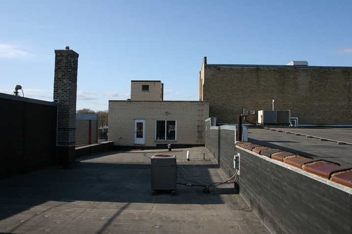 Atop the roof and looking toward the door into the Lundeen Company.
