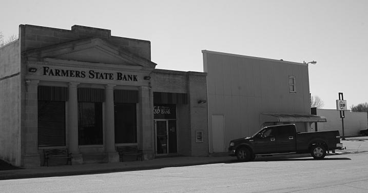 Typically the nicest building in town, the bank.