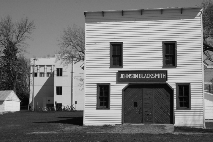From what I observed, this is an historic blacksmith shop, not a working one. Note the bikes in the background parked outside the public school.