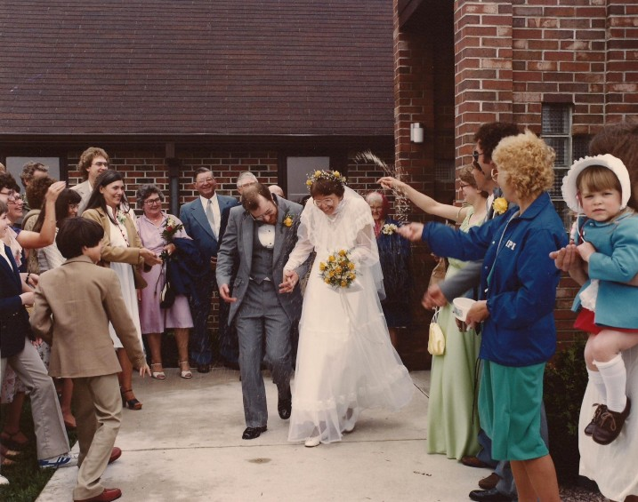 My husband, Randy, and I exit St. John's Lutheran Church in Vesta following our May 15, 1982, wedding.