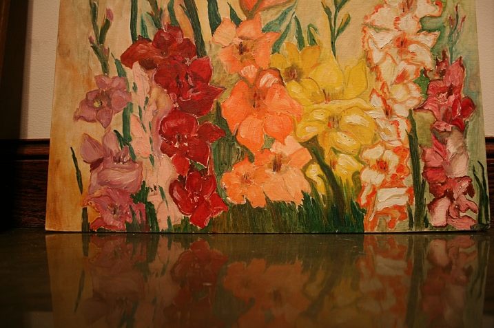 I came very close to purchasing this painting of gladioli. May still buy it.