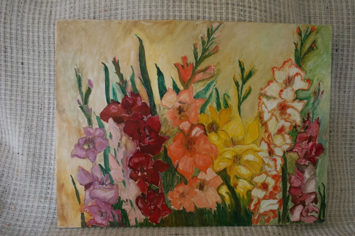 I have yet to find a spot for this gladioli oil painting which I bought for $10 at the Recycled Art Sale.