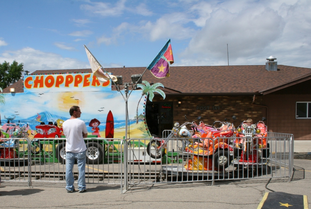 In front of the local Legion, the choppers.