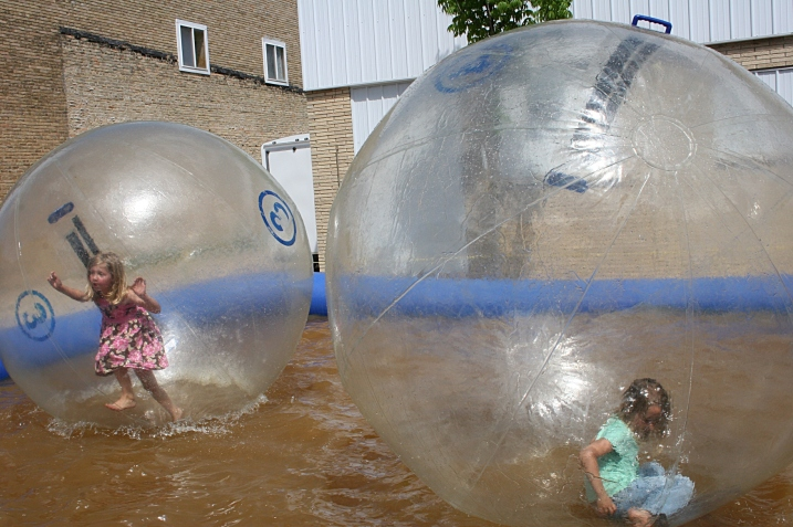 Walking (or falling) in the water balls.
