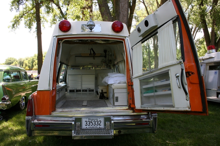 A peek inside Kurt's ambulance. At one time the funeral home in Tracy, like those in many small towns, provided ambulance service.