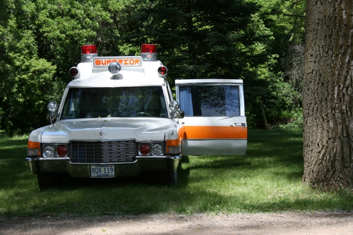 One of two vintage ambulances on display.