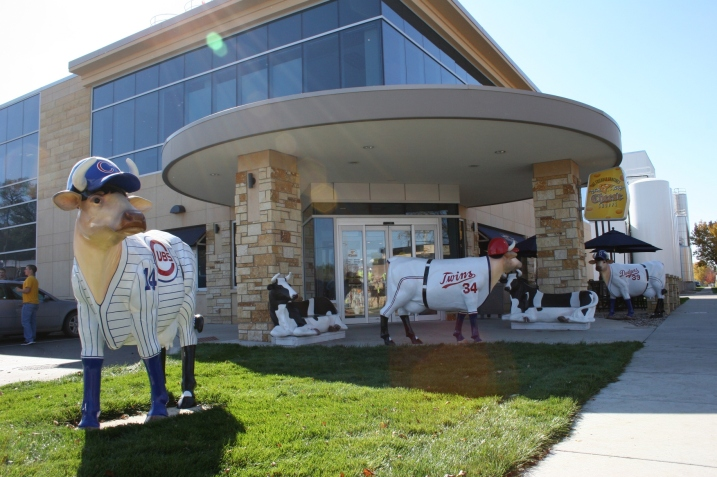 Cow sculptures outside The Friendly Confines Cheese Shoppe in LeSueur. File photo.