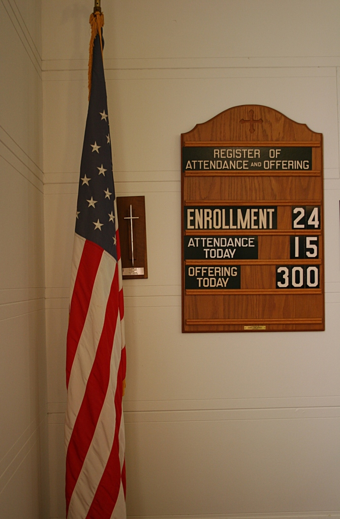 Stats, posted in a corner behind the organ at the front of the church.