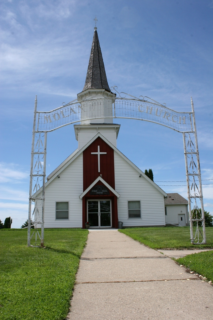 Moland features architecture common in country churches.