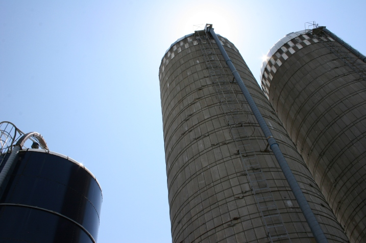 A trio of silos next to the Wegners' barn.