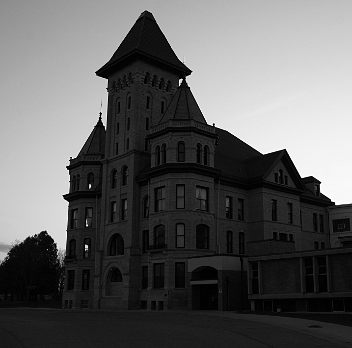 Daylight was fading as I snapped this photo of the anchor building on the former Fergus Falls State Hospital campus.