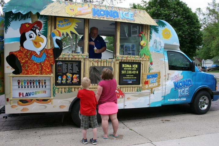 The colorful characters which are part of the Kona story are displayed on the colorful truck.