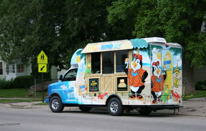 The Kona Ice Southern Lakes truck parked across the street from my house on Monday evening.