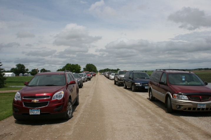 Vehicles lined both sides of Appleton Avenue near the Wegners' farm.