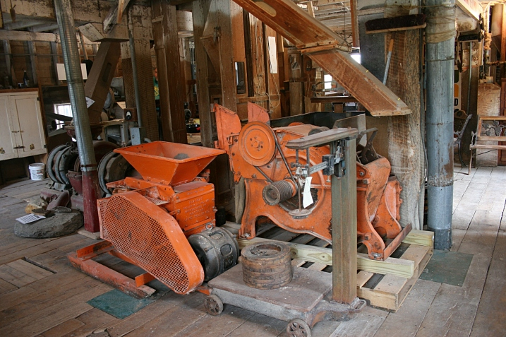 The old feed mill is stocked with lots of vintage grinding equipment.
