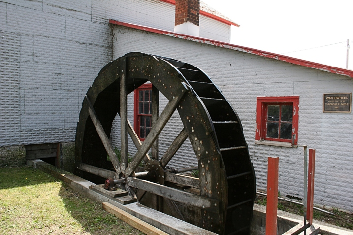 A replica waterwheel built in 1997 by Theodore E. Sawle.
