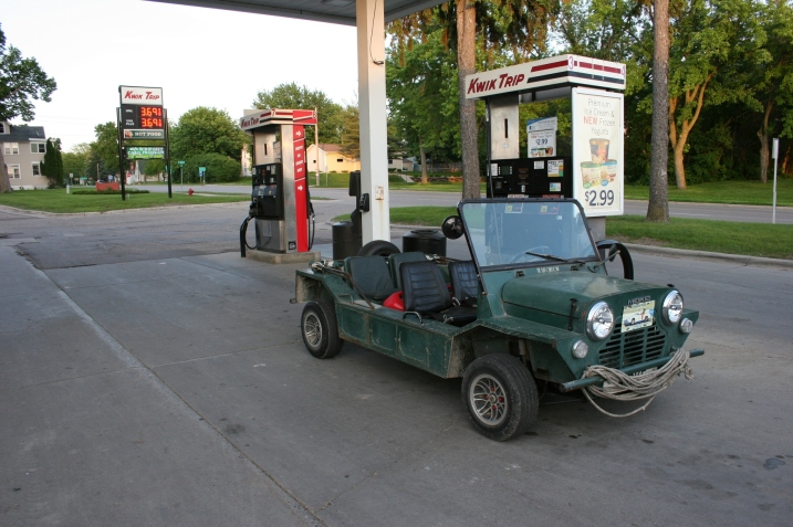 The low-riding Mini Moke isn't exactly an open road vehicle.