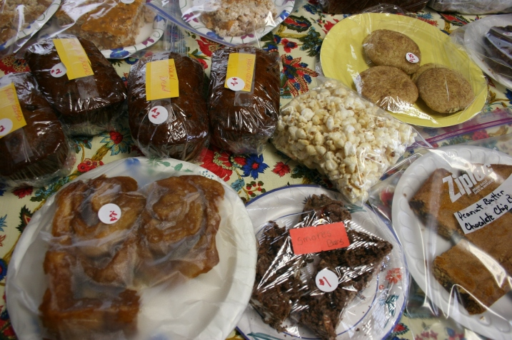 First stop: the bake sale inside the church entry. My husband purchased caramel rolls.