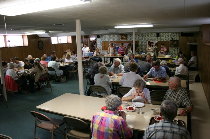 Diners flocked to Moland Lutheran Church on Sunday for the congregation's annual strawberry festival in the church basement.