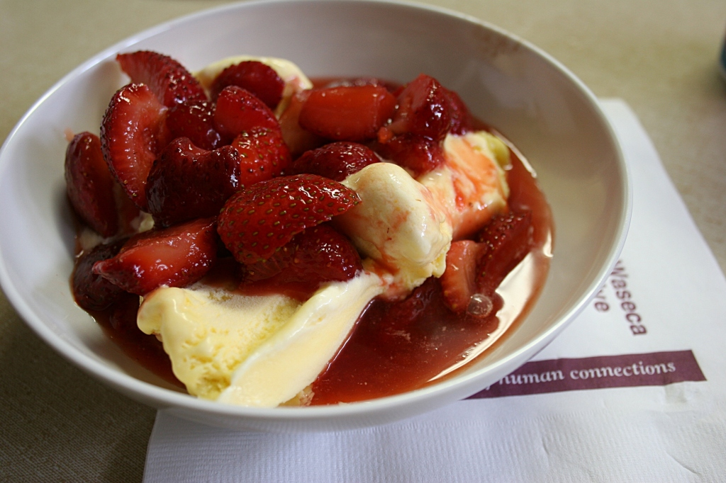 Then I returned for a generous bowl of ice cream heaped with fresh strawberries. I couldn't eat all of it, so my husband finished off the delicious dessert.