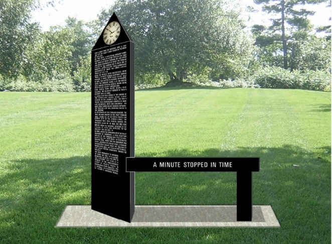 "An artist's rendering of the tornado monument. The words on the bench will read ""Tracy Tornado Monument"" and an engraving of Eric Lantz's tornado photo will be etched below the clock and above the story. Image courtesy of Scott Thoma."