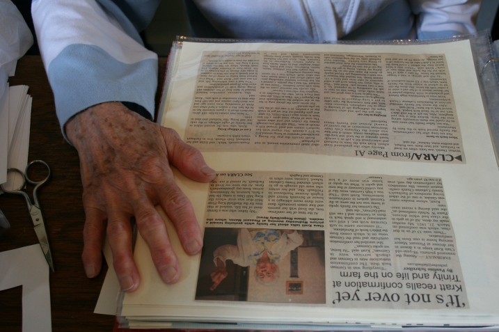 One of my favorite images is this one of volunteer Helen Newman's hand. She was cutting and taping info into the 2005 sesquicentennial book lying on the desk.