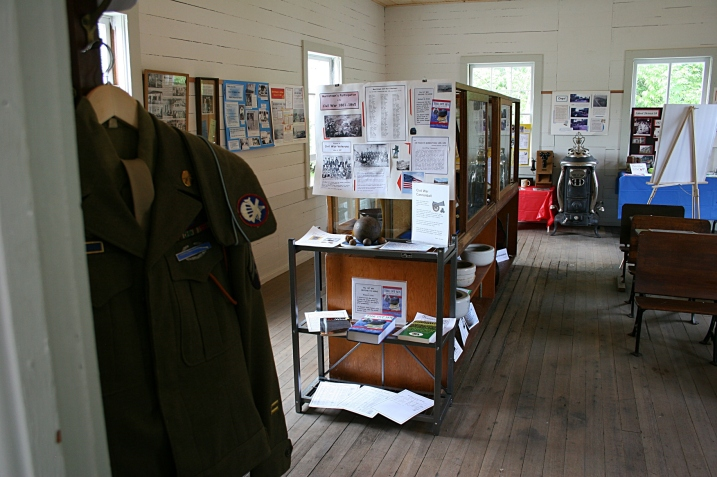 A snippet of the artifacts and info displayed inside the schoolhouse turned museum.