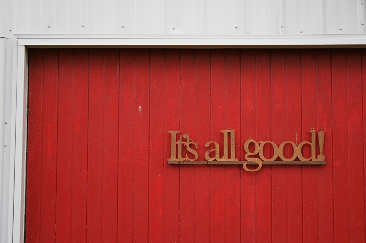 "The message on the granery door reflects Barb's attitude: ""The sheds are full of stuff and it's all good."""