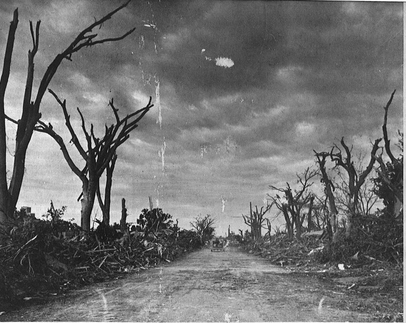 A residential street, once covered in branches and debris, had to be plowed to allow vehicles to pass. Photo by The Tracy Headlight Herald and courtesy of Scott Thoma, Tracy native and author of Out of the Blue, a book about the Tracy tornado.