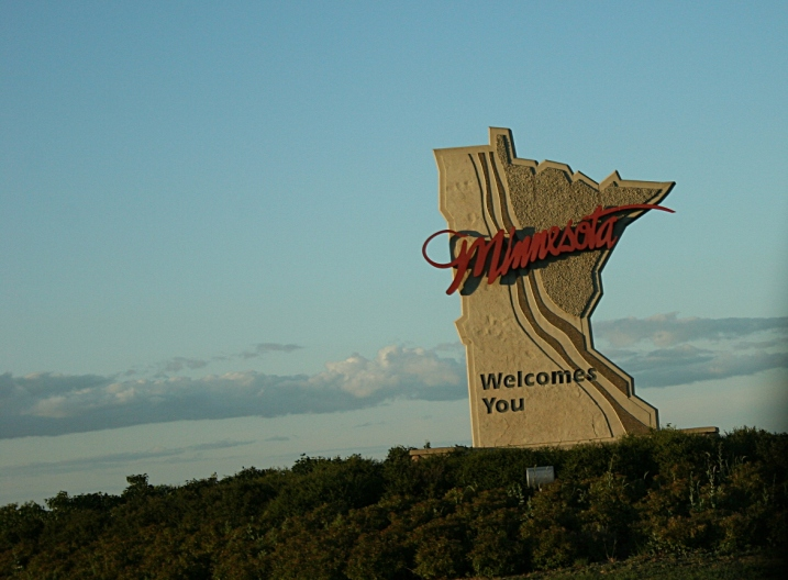 The Welcome to Minnesota sign just down the road from Gretchen and Colin's place.