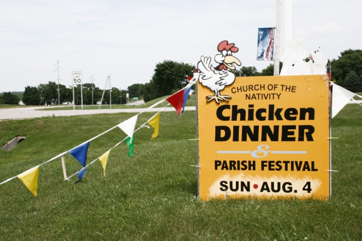 The beautiful chicken dinner sign I spotted along Minnesota Highway 99 on the edge of Cleveland.