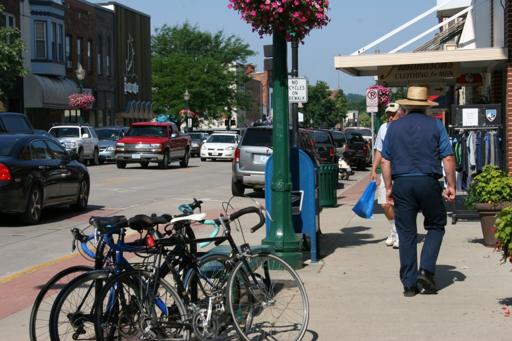 On a Tuesday morning, the streets were teeming with pedestrians, including this Amish man from southeastern Minnesota.
