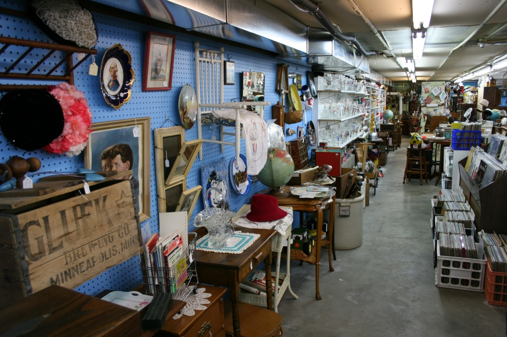 Shopping for antiques in the basement of Eckheart Gallery.