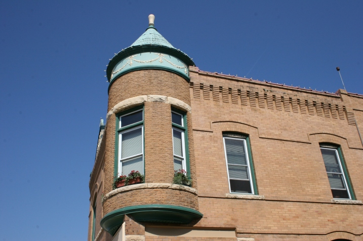 Blue Heron Knittery is housed in the lower level of this architecturally stunning corner building in downtown Decorah.