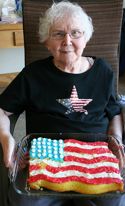 My mom, Arlene, made this flag cake. Impressive, huh?