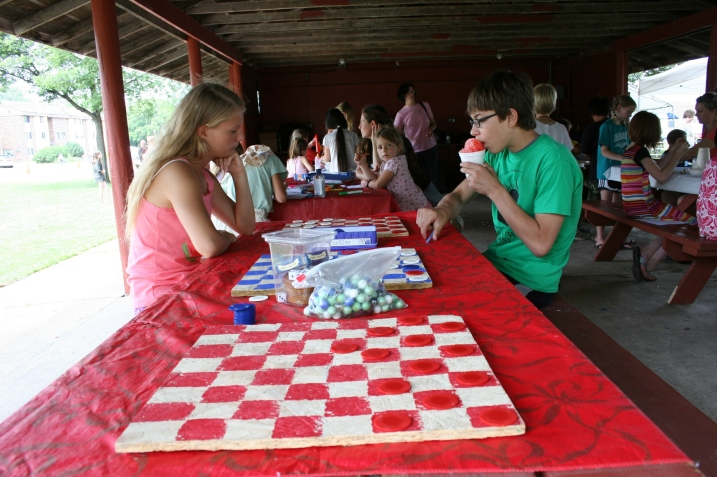 Most of the kids' activities are centered in the park shelter.