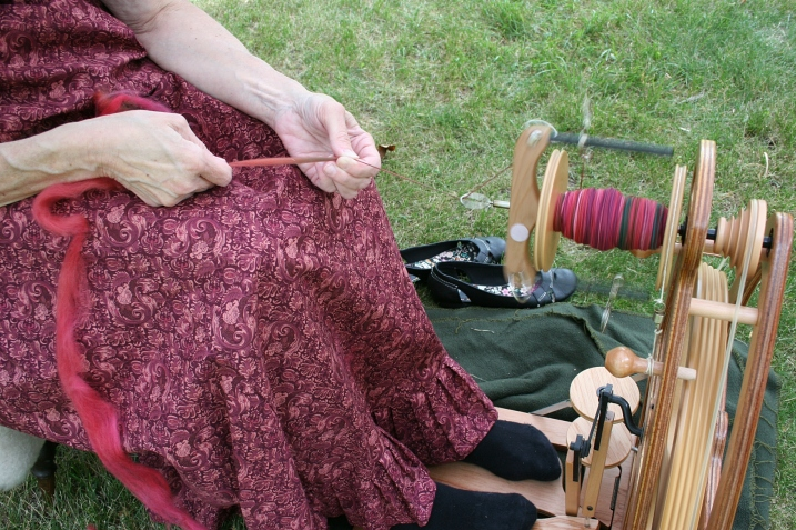 Craft demonstrations, like spinning, are part of the festivities.