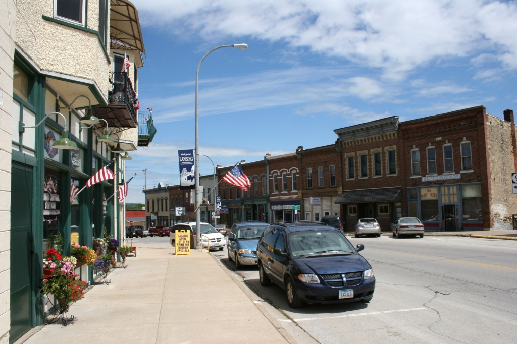 I spotted plenty of American flags in the Mississippi River town of Lansing, Iowa.