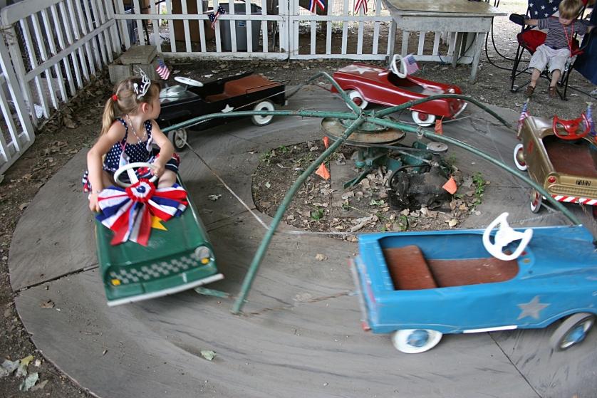 The vintage car ride for kids.