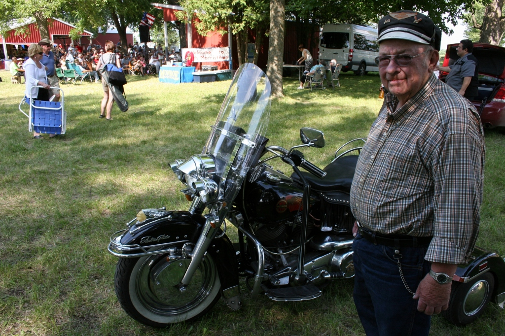 A 75-year-old Harley rider arrives at the celebration late in the afternoon.